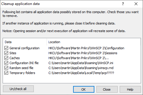 Cleaning Up Application Data :: WinSCP