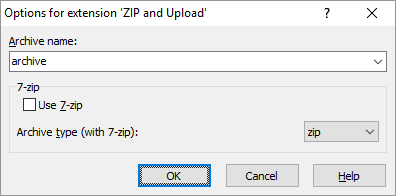 Pack files to ZIP archive and upload it :: WinSCP