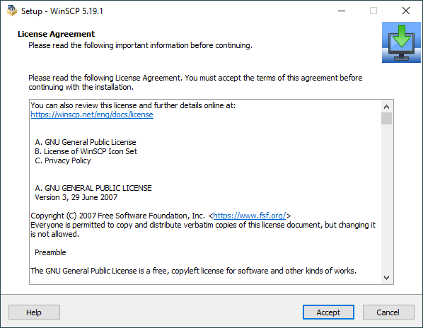 License Agreement Page Winscp Installer Winscp
