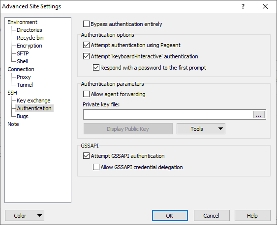 Authentication Page (Advanced Site Settings dialog) :: WinSCP