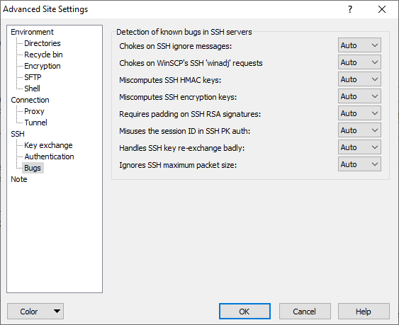 Bugs Page (Advanced Site Settings dialog) :: WinSCP