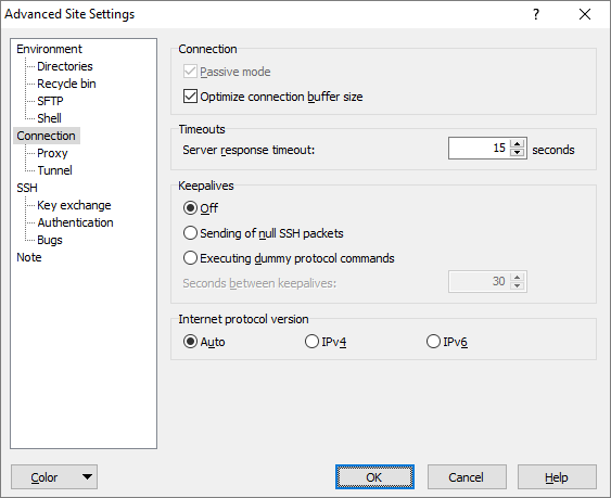 Connection Page (Advanced Site Settings dialog) :: WinSCP