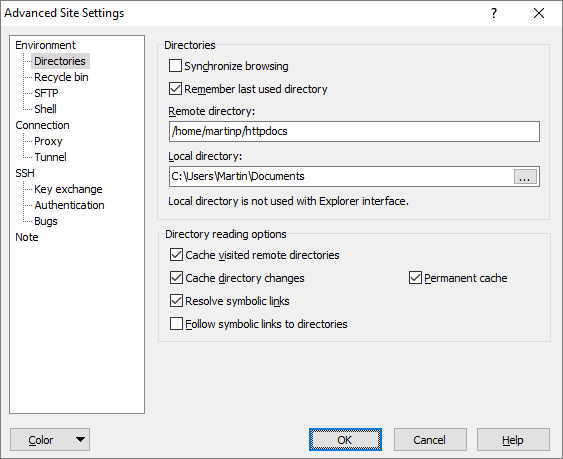 Directories Page (Advanced Site Settings dialog) :: WinSCP