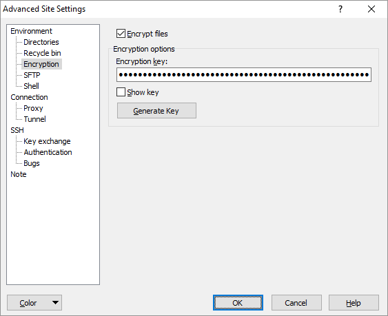 Encryption Page (Advanced Site Settings dialog) :: WinSCP