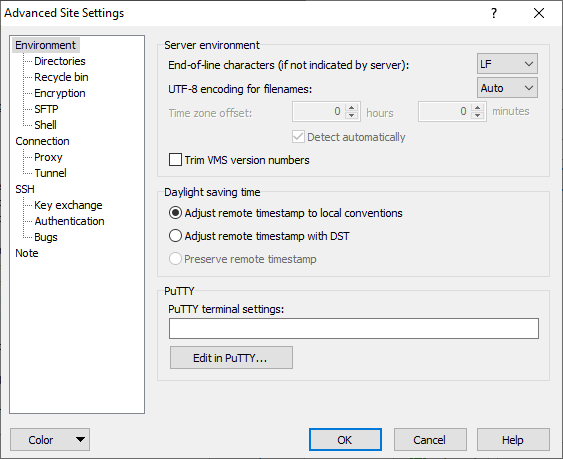 Environment Page (Advanced Site Settings dialog) :: WinSCP