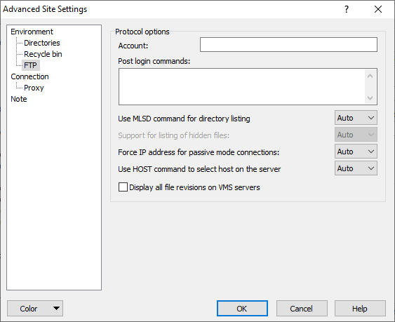 FTP Page (Advanced Site Settings dialog) :: WinSCP