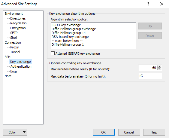 Key Exchange Page (Advanced Site Settings dialog) :: WinSCP