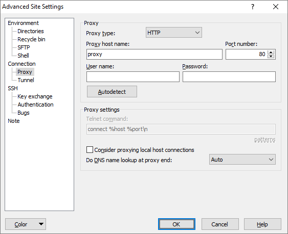 Proxy Page (Advanced Site Settings dialog) :: WinSCP