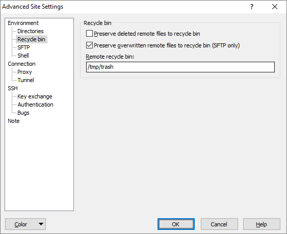 Recycle Bin Page (Advanced Site Settings dialog) :: WinSCP