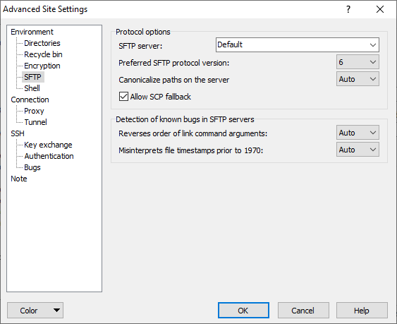 SFTP Page (Advanced Site Settings dialog) :: WinSCP