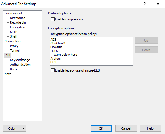 SSH Page (Advanced Site Settings dialog) :: WinSCP