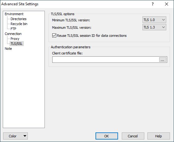 TLS/SSL Page (Advanced Site Settings Dialog) :: WinSCP