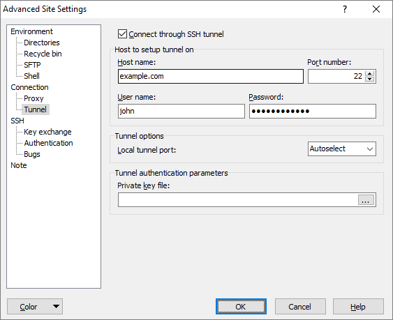 Tunnel Page (Advanced Site Settings dialog) :: WinSCP