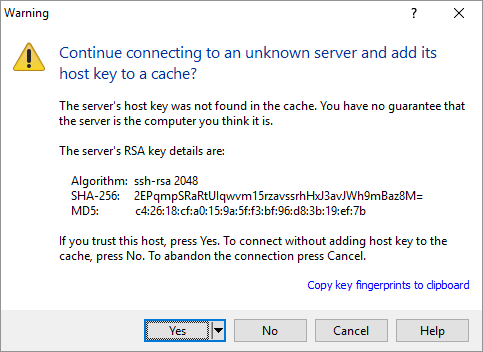 Continue connecting to an unknown server and add its host