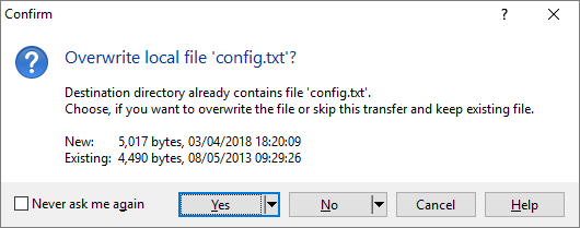 Overwrite Confirmation :: WinSCP