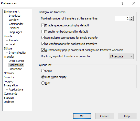 Background Page (Preferences Dialog) :: WinSCP