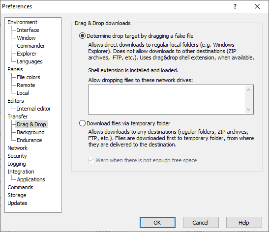 Drag&Drop Page (Preferences Dialog) :: WinSCP