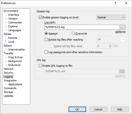 Logging Page (Preferences Dialog) :: WinSCP