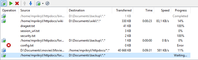 Background Transfers Queue List :: WinSCP