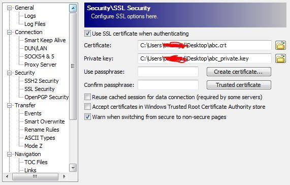 SSL certificate support for FTPS :: Support Forum :: WinSCP