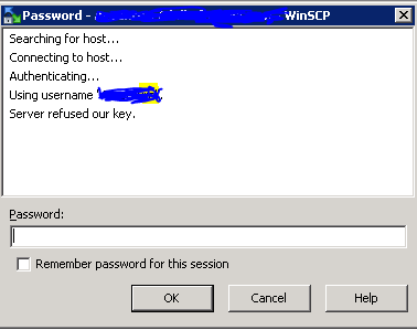 Server refused our key