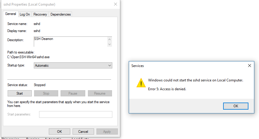 Windows could not start the sshd service on Local Computer  Error 5