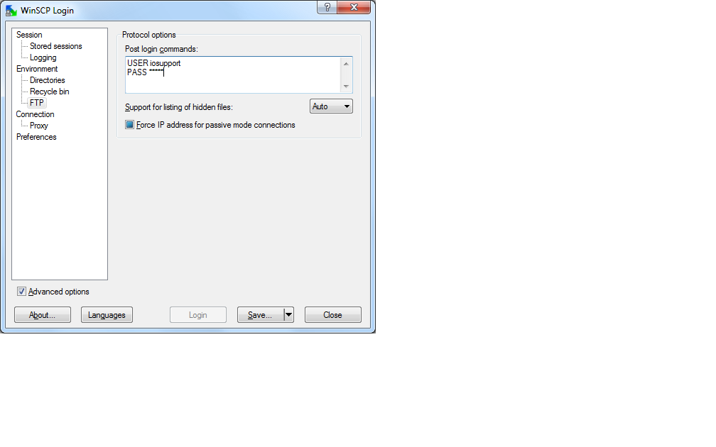 Only the first FTP post login command is ran! :: Support Forum :: WinSCP