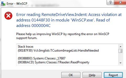 Error reading RemoteDriveView Indent: Access violation at