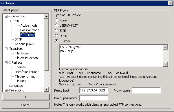 Proxy settings :: Support Forum :: WinSCP